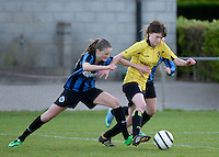 20140502 - VARSENARE , BELGIUM : duel pictured between Brugge's Bieke Vandenbussche (l) and Lierse's Tinne Van Den Bergh (r)  during the soccer match between the women teams of Club Brugge Vrouwen  and WD Lierse SK  , on the 26th matchday of the BeNeleague competition on Friday 2 May 2014 in Varsenare .  PHOTO DAVID CATRY