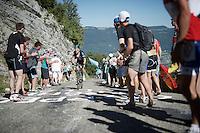 Geraint Thomas (GBR/SKY) up the Lacets du Grand Colombier (Cat1/891m/8.4km/7.6%)<br /> <br /> stage 15: Bourg-en-Bresse to Culoz (160km)<br /> 103rd Tour de France 2016