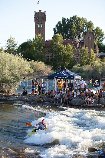 Kayaking competition at Brennan's Wave on the Clark Fork River in Missoula, Montana