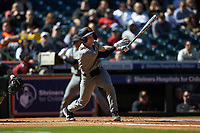 Mark Vierling (9) of the Missouri Tigers follows through on his swing against the Baylor Bears in game one of the 2020 Shriners Hospitals for Children College Classic at Minute Maid Park on February 28, 2020 in Houston, Texas. The Bears defeated the Tigers 4-2. (Brian Westerholt/Four Seam Images)