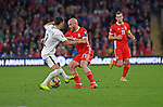 Cardiff - UK - 6th September :<br />Wales v Azerbaijan European Championship 2020 qualifier at Cardiff City Stadium.<br />Jonny Williams of Wales is tackled by Gara Garayev of Azerbaijan late in the second half.<br /><br />Editorial use only