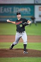 Great Falls Voyagers relief pitcher Chris Comito (19) delivers a pitch during a Pioneer League game against the Idaho Falls Chukars at Melaleuca Field on August 18, 2018 in Idaho Falls, Idaho. The Idaho Falls Chukars defeated the Great Falls Voyagers by a score of 6-5. (Zachary Lucy/Four Seam Images)