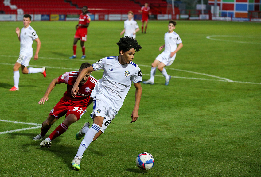 Leeds United U21's Jeremiah Mullen shields the ball from Accrington Stanley's Dion Charles<br /> <br /> Photographer Alex Dodd/CameraSport<br /> <br /> EFL Trophy Northern Section Group G - Accrington Stanley v Leeds United U21 - Tuesday 8th September 2020 - Crown Ground - Accrington<br />  <br /> World Copyright © 2020 CameraSport. All rights reserved. 43 Linden Ave. Countesthorpe. Leicester. England. LE8 5PG - Tel: +44 (0) 116 277 4147 - admin@camerasport.com - www.camerasport.com