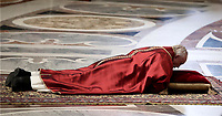 Pope Francis lies down in prayer during the Good Friday Passion of Christ Mass inside St. Peter's Basilica, at the Vatican, Friday, March 30, 2018<br /> UPDATE IMAGES PRESS/Isabella Bonotto<br /> <br /> STRICTLY ONLY FOR EDITORIAL USE