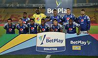 BOGOTA - COLOMBIA, 09-12-2020: Jugadores de Millonarios F. C. posan para una foto, antes de durante partido entre Millonarios F. C. y Boyaca Chico F. C. de la fecha 3 por la Liguilla BetPlay DIMAYOR 2020 jugado en el estadio Nemesio Camacho El Campin de la ciudad de Bogota. / Players of Millonarios F. C. pose for a photo, prior a match between Millonarios F. C. and Boyaca Chico F. C. of the 3rd date for the BetPlay DIMAYOR 2020 Liguilla played at the Nemesio Camacho El Campin Stadium in Bogota city. / Photo: VizzorImage / Luis Ramirez / Staff.