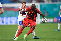 ST PETERSBURG, RUSSIA - JUNE 12 : Romelu Lukaku forward of Belgium and Aleksandr Sobolev forward of Russia in action during the 16th UEFA Euro 2020 Championship Group B match between <br /> Belgium and Russia on June 12, 2021 in St Petersburg, Russia, 12/06/2021 <br /> Photo Photonews / Panoramic / Insidefoto <br /> ITALY ONLY