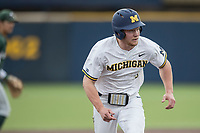 Michigan Wolverines outfielder Miles Lewis (3) runs to third base against the Michigan State Spartans during the NCAA baseball game on April 18, 2017 at Ray Fisher Stadium in Ann Arbor, Michigan. Michigan defeated Michigan State 12-4. (Andrew Woolley/Four Seam Images)
