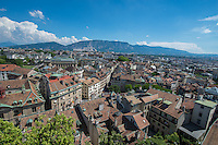 Switzerland, Geneva, View of city from Cathedrale Saint-Pierre, Saint Peter's Cathedral.