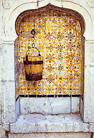 Ceramics, Tunis, Tunisia.  Lion's Paw Tiles Line a Well-Nitch in a Medina House.
