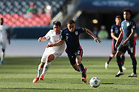DENVER, CO - JUNE 3: Jonathan Rubio #17 of Honduras battles for the ball with Sergino Dest #2 of the United States during a game between Honduras and USMNT at Empower Field at Mile High on June 3, 2021 in Denver, Colorado.