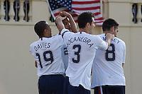 Charlie Davies, Oguchi Onyewu, Carlos Bocanegra and Clint Dempsey celebrate. The USA defeated China, 4-1, in an international friendly at Spartan Stadium, San Jose, CA on June 2, 2007.