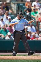 Umpire Jansen Visconti during a game between the Pawtucket Red Sox and Rochester Red Wings on June 29, 2016 at Frontier Field in Rochester, New York.  Pawtucket defeated Rochester 3-2.  (Mike Janes/Four Seam Images)
