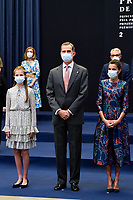 OVIEDO, SPAIN - OCTOBER 16: King Felipe VI of Spain, Queen Letizia of Spain, Crown Princess Leonor of Spain (L) attend an audience to congratulate the winners at the Reconquista Hotel during the 'Princesa De Asturias' Awards 2020 on October 16, 2020 in Oviedo, Spain Credit: Jimmy Olsen/MediaPunch