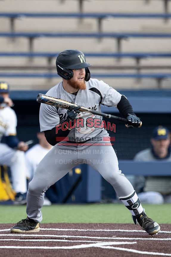 Western Michigan Broncos outfielder Blake Dunn (1) squares to bunt against the Michigan Wolverines on March 18, 2019 in the NCAA baseball game at Ray Fisher Stadium in Ann Arbor, Michigan. Michigan defeated Western Michigan 12-5. (Andrew Woolley/Four Seam Images)