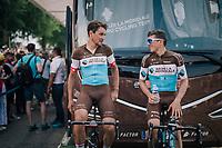 Silvan Dillier (SUI/AG2R-La Mondiale) & Mathias Frank (SUI/AG2R-La Mondiale) warming down after the race<br /> <br /> Stage 7: Fougères > Chartres (231km)<br /> <br /> 105th Tour de France 2018<br /> ©kramon
