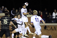 WINSTON-SALEM, NC - DECEMBER 07: Faouzie Taieb #5 of the University of California Santa Barbara heads the ball during a game between UC Santa Barbara and Wake Forest at W. Dennie Spry Stadium on December 07, 2019 in Winston-Salem, North Carolina.