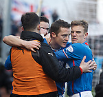 Jon Daly celebrates his goal for Rangers with Dean Shiels
