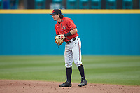 San Diego State Aztecs second baseman Caden Miller (1) on defense against the UNCG Spartans at Springs Brooks Stadium on February 16, 2020 in Conway, South Carolina. The Spartans defeated the Aztecs 11-4.  (Brian Westerholt/Four Seam Images)