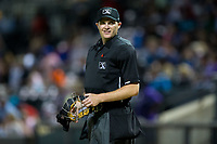 Home plate umpire Ryan Wilhelms during the Carolina League game between the Buies Creek Astros and the Winston-Salem Dash at BB&T Ballpark on April 13, 2017 in Winston-Salem, North Carolina.  The Dash defeated the Astros 7-1.  (Brian Westerholt/Four Seam Images)