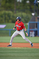 Fort Myers Miracle Trevor Larnach (9) leads off second base during a Florida State League game against the Charlotte Stone Crabs on April 6, 2019 at Charlotte Sports Park in Port Charlotte, Florida.  Fort Myers defeated Charlotte 7-4.  (Mike Janes/Four Seam Images)
