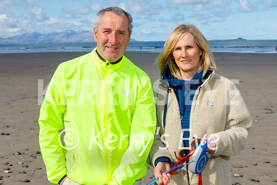 Aidan and Avril Carmody enjoying a stroll on Banna beach