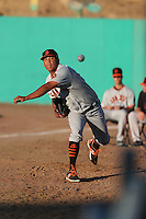 Luis Ysla (35) of the San Jose Giants warms up in the bullpen before pitching during a game against the High Desert Mavericks at Mavericks Stadium on June 14, 2015 in Adelanto, California. High Desert defeated San Jose, 7-5. (Larry Goren/Four Seam Images)