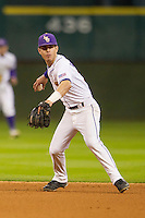 LSU Tigers second baseman Kramer Robertson (3) prepares to make a throw to first base during the NCAA baseball game against the Houston Cougars on March 6, 2015 at Minute Maid Park in Houston, Texas. LSU defeated Houston 4-2. (Andrew Woolley/Four Seam Images)