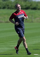 Pictured: Manager Paul Clement warms up. Wednesday 05 July 2017<br /> Re: Swansea City FC training at Fairwood training ground, UK