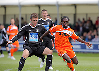 Pictured: Nathan Dyer of Swansea (R). Saturday 17 July 2011<br /> Re: Pre season friendly, Neath Football Club v Swansea City FC at the Gnoll ground, Neath, south Wales.