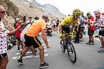 Race leader Julian Alaphilippe (FRA) Deceuninck-Quick Step hangs in there on the Col d'Izoard during Stage 18 of the 2019 Tour de France running 208km from Embrun to Valloire, France. 25th July 2019.<br /> Picture: ASO/Alex Broadway | Cyclefile<br /> All photos usage must carry mandatory copyright credit (© Cyclefile | ASO/Alex Broadway)