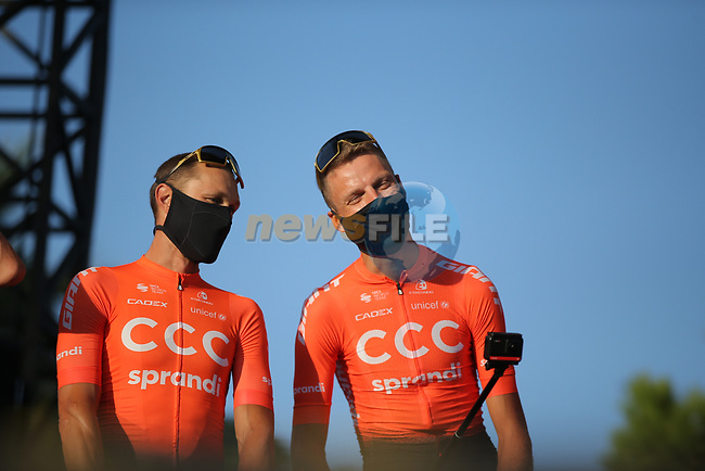 Matteo Trentin and Alessandro de Marchi (ITA) CCC Team on stage at the team presentation before the Tour de France 2020, Nice, France. 27th August 2020.<br /> Picture: ASO/Thomas Maheux | Cyclefile<br /> All photos usage must carry mandatory copyright credit (© Cyclefile | ASO/Thomas Maheux)