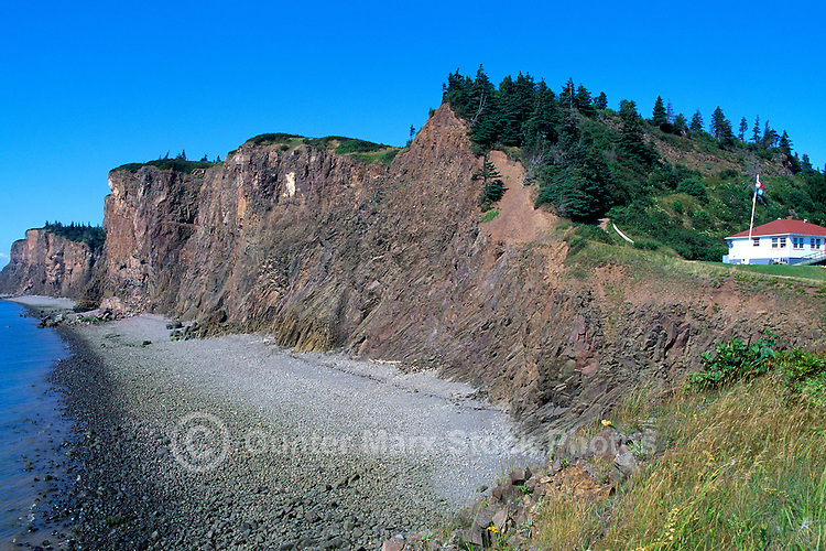 Cape d'Or, NS, Nova Scotia, Canada - Basalt Headlands and Cliffs along Rugged Bay of Fundy Coastline and Minas Basin - Fundy Shore & Annapolis Valley Region