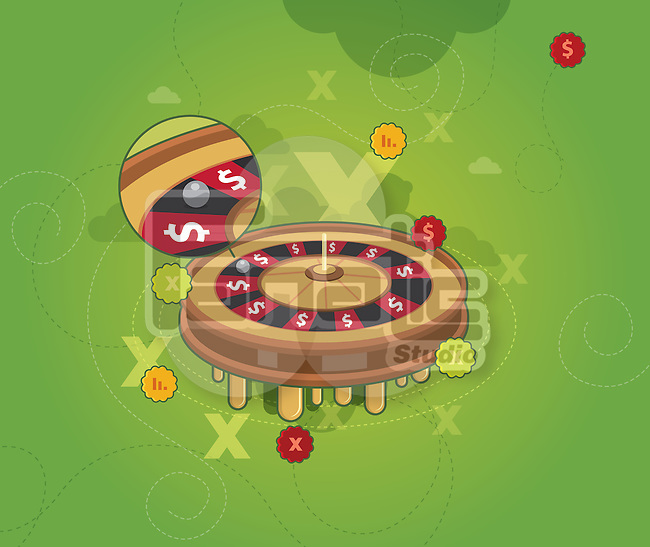 Roulette wheel with magnification on roulette ball depicting loss of game