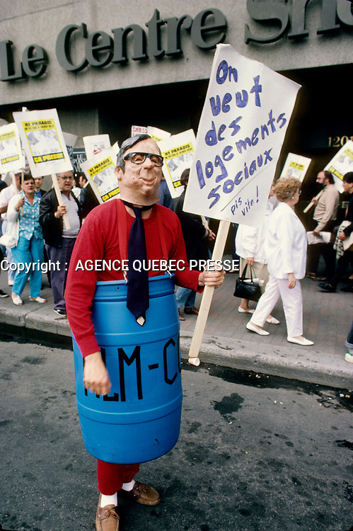 1989 File Photo - Montreal (qc) CANADA - FRAPU  and ANEQ protest during the 1989 student strike