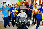 Sister Borgia Shannon celebrating her 100th birthday with the staff of the Sonas Ashborough Nursing Home in Milltown on Tuesday.  L to r: Cliodhna McEntaeggart, Stacey Donovan, Aoibheann Twiss, Sister Borgia Shannon, Miriam Harty, Dolores Sugrue, Sheilah Climaco and Sini Thomas.