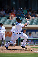 Augusta GreenJackets Andres Angulo (1) at bat during a South Atlantic League game against the Lexington Legends on April 30, 2019 at SRP Park in Augusta, Georgia.  Augusta defeated Lexington 5-1.  (Mike Janes/Four Seam Images)