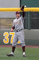 Darin Gillies #15 of the Arizona State Sun Devils before a game against the UCLA Bruins at Jackie Robinson Stadium on March 16, 2012 in Los Angeles,California. UCLA defeated Arizona State 6-5.(Larry Goren/Four Seam Images)