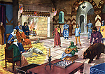 """Une soiree dans un chateau-fort au moyen age : le siegneur et sa femme, assis pres de la cheminee, assiste a un spectacle de montreur d'ours, menestrels,  Illustration extraite de l'ouvrage """"Belles images d'histoire"""", d'H. Geron et A. Rossignol, (vers 1948) Coll. Part.  ---  An evening in a fortified castle in middle ages, illustration from """"Belles images d'histoire"""", by H. Geron, (c.1948)"""