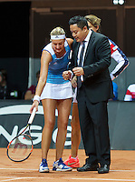 Arena Loire,  Trélazé,  France, 16 April, 2016, Semifinal FedCup, France-Netherlands, Second match: Kristina Mldanovic vs Richel Hogenkamp (NED), Pixtured : Kristina Mladonovic in discussion with the umpire<br />