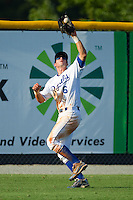 Left fielder Gabe MacDougall #6 of the Burlington Royals catches a fly ball against the Princeton Rays at Burlington Athletic Stadium July 11, 2010, in Burlington, North Carolina.  Photo by Brian Westerholt / Four Seam Images
