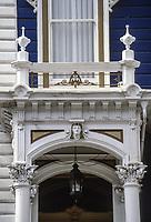 San Francisco, California, USA. Pacific Heights, Egyptian Motif on Victorian Style House, California Street.