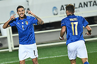 Lorenzo Pellegrini of Italy celebrates with Ciro Immobile after scoring a goal during the Uefa Nation League Group Stage A1 football match between Italy and Netherlands at Atleti azzurri d Italia Stadium in Bergamo (Italy), October, 14, 2020. Photo Andrea Staccioli / Insidefoto