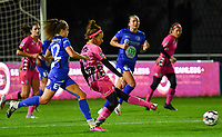 Ines Dhaou (5 Charleroi) pictured passing in front of Jasmien Mathys (12 Gent) during a female soccer game between  AA Gent Ladies and Sporting Charleroi Feminin on the fifth matchday of the 2020 - 2021 season of Belgian Scooore Womens Super League , friday 16 th of October 2020  in Oostakker , Belgium . PHOTO SPORTPIX.BE | SPP | DAVID CATRY