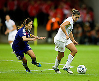 Carli Lloyd, Homare Sawa.  Japan won the FIFA Women's World Cup on penalty kicks after tying the United States, 2-2, in extra time at FIFA Women's World Cup Stadium in Frankfurt Germany.