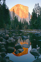 Merced River and El Capitan<br /> Yosemite Valley<br /> Yosemite National Park<br /> Sierra Nevada,  California