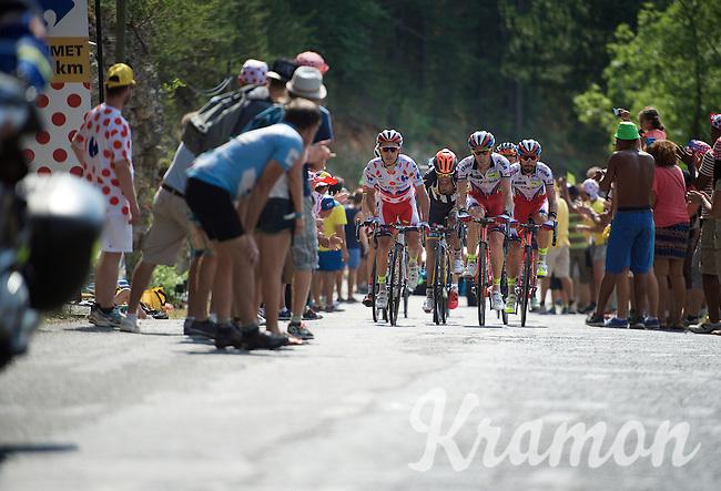 polka dot jersey Joaquim Rodriguez (ESP/Katusha) & teammates come up quite late on the Cote de la Croix Neuve (2C/1055m/3km/10.1%)<br /> <br /> stage 14: Rodez - Mende (178km)<br /> 2015 Tour de France
