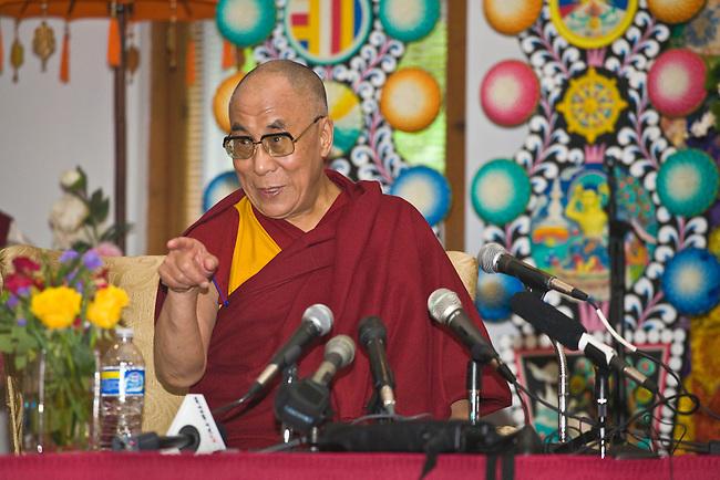 The 14th DALAI LAMA of Tibet at a press conference - BLOOMINGTON, INDIANA