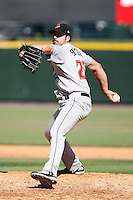 September 2 2008:  Pitcher Brian Slocum of the Buffalo Bisons, Class-AAA affiliate of the Cleveland Indians, during a game at Frontier Field in Rochester, NY.  Photo by:  Mike Janes/Four Seam Images