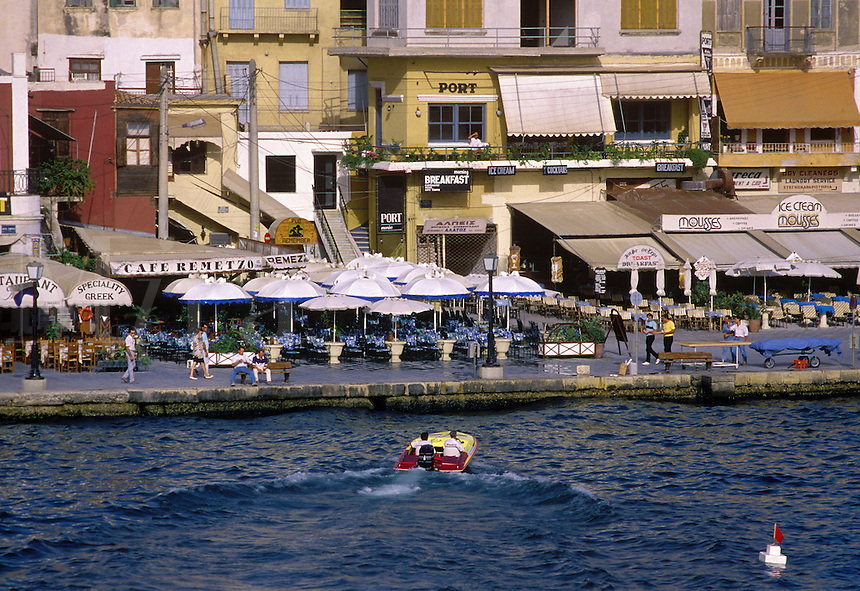 The quay in the old section of Hania, with its restaurants, stores, and Venetian architecture. Crete, Greece.