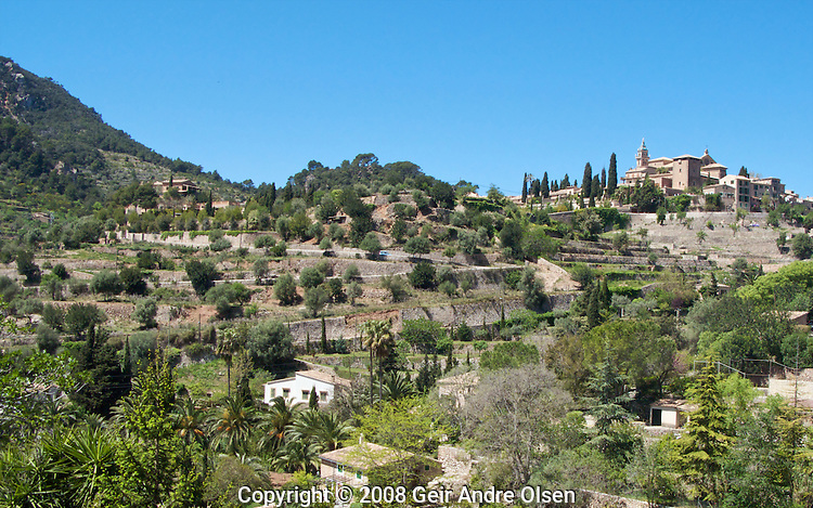 Valldemossa is the highest community on the island and sits on the slopes of the Tramuntana mountains at Majorca, Spain